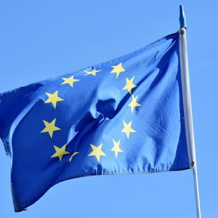 EU flag floating in wind
